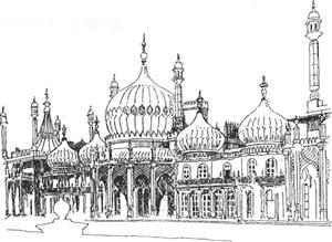 ロイヤル・バピリオン(設計:ジョン ・ ナッシュ 、 ブライトン、 1818頃)