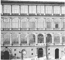 ブラマンテ作(パチカン) 各階の柱、 ドーリア (2F) イオニア (3F)コリント (4F)