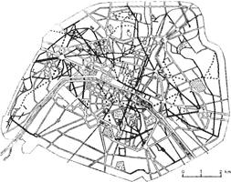 オースマンが1853-70年に計画した軸線(黒太線)による放射状道路